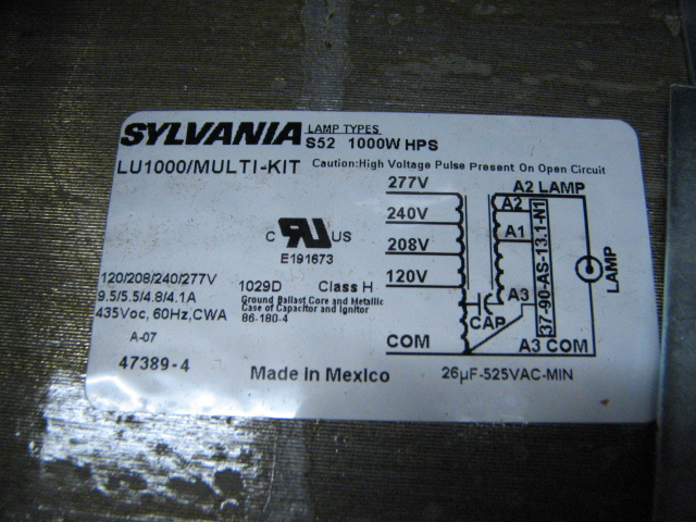 Sylvania_LU1000 super5 KIT_2 question about ballast kit and 240 volt anandtech forums 1000 watt ballast wiring diagram at readyjetset.co