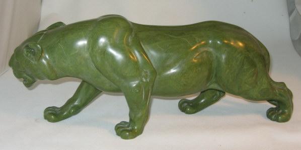 Verdite stone lioness carving